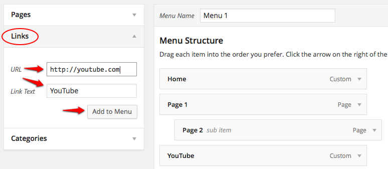 Create Menu Links screenshot