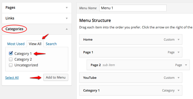 Create Menu Categories screenshot