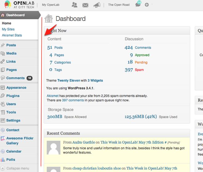 dashboard menu screenshot