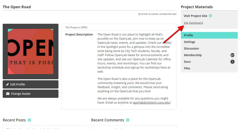 site dashboard link screenshot