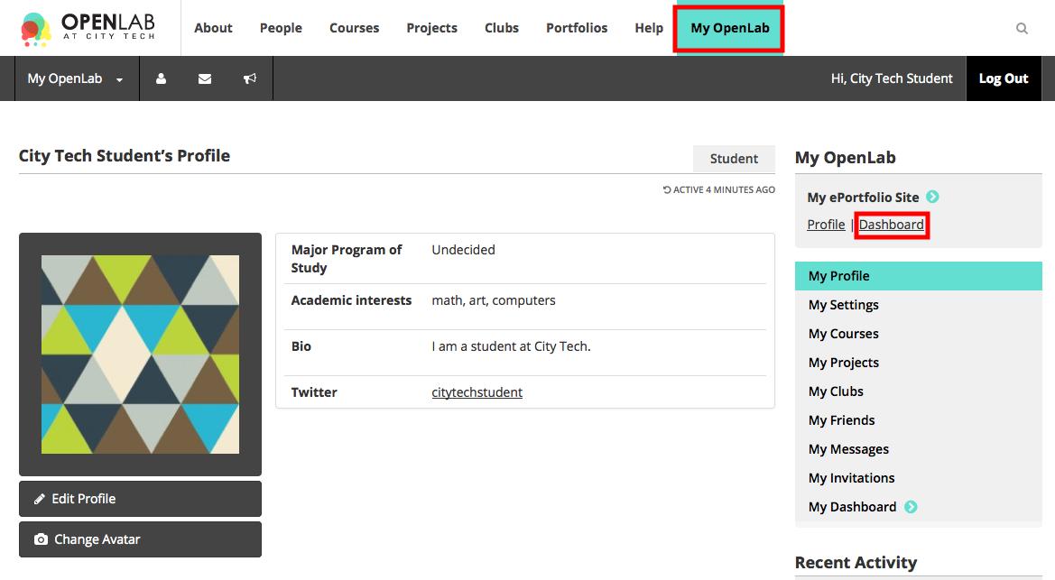 ePortfolio Site Dashboard Screenshot