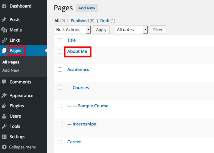 ePortfolio Site Dashboard Pages Screenshot