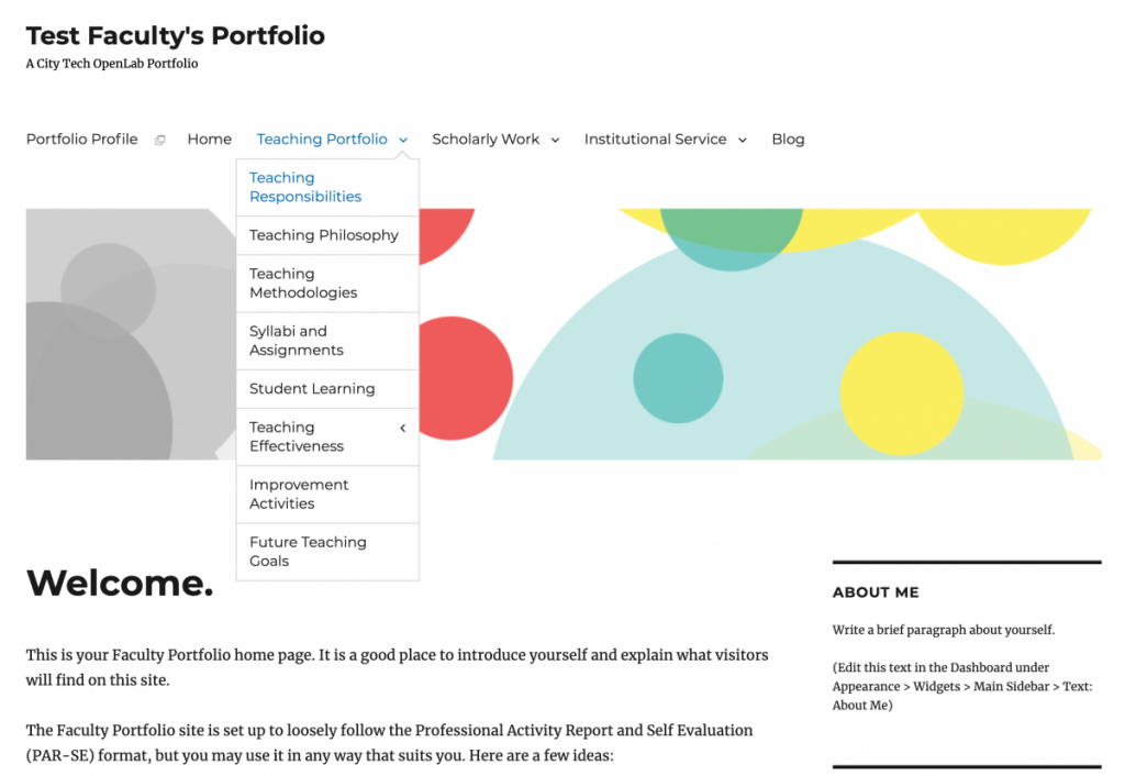 screenshot of portfolio site template