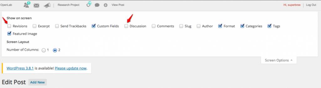 Using Screen Options screenshot