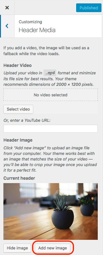Screenshot of changing header step 1