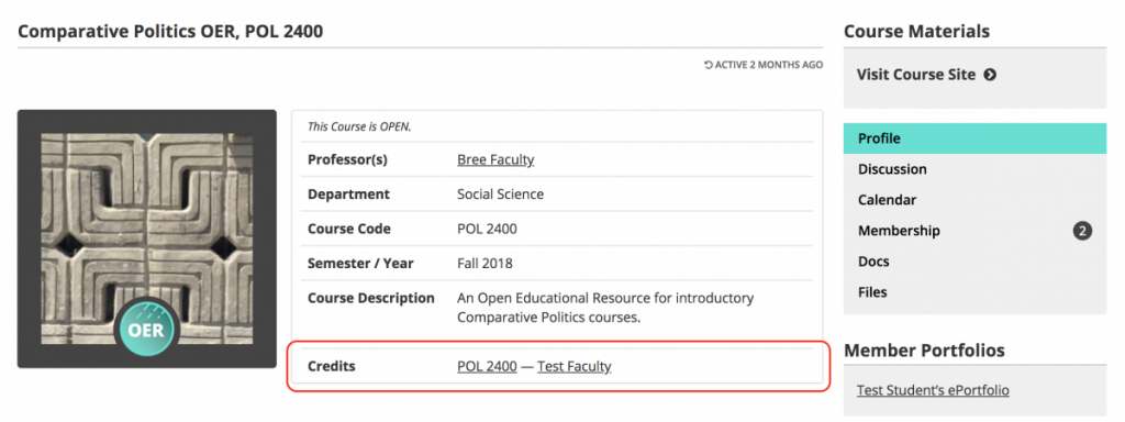 Cloned course profile with previous faculty author listed in Credits