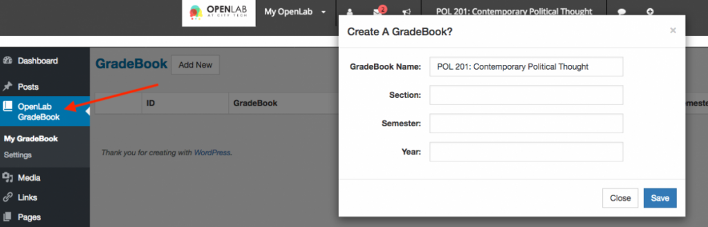 OpenLab Gradebook screenshot 2