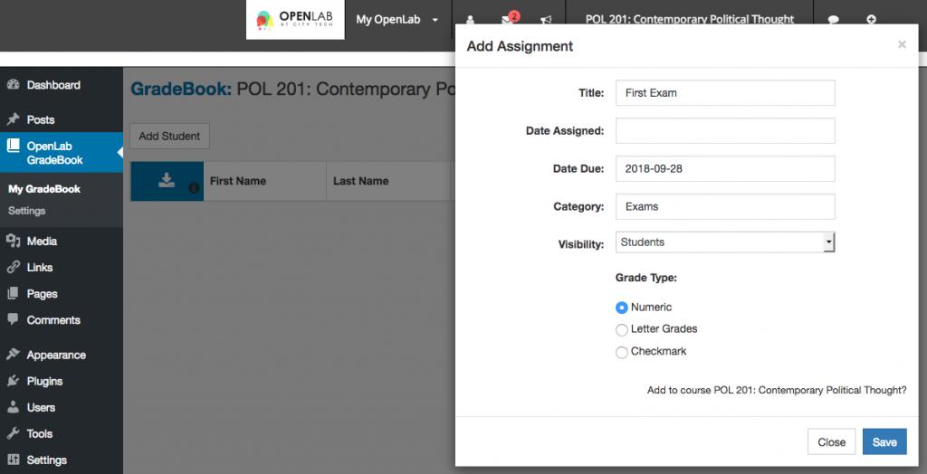 OpenLab Gradebook screenshot 5