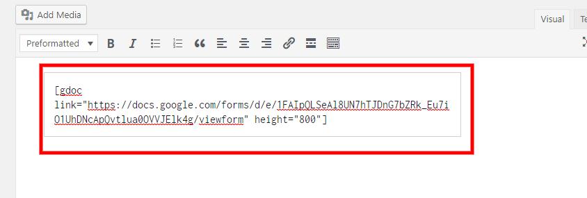 Google Doc Embedder help step 2