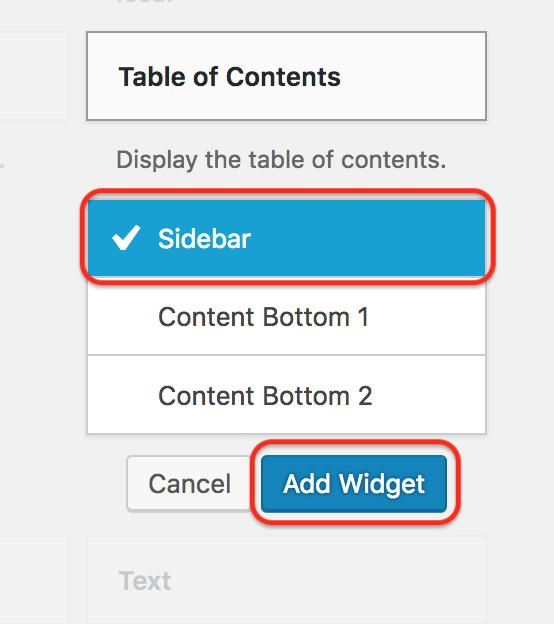 Easy Table of Contents widget