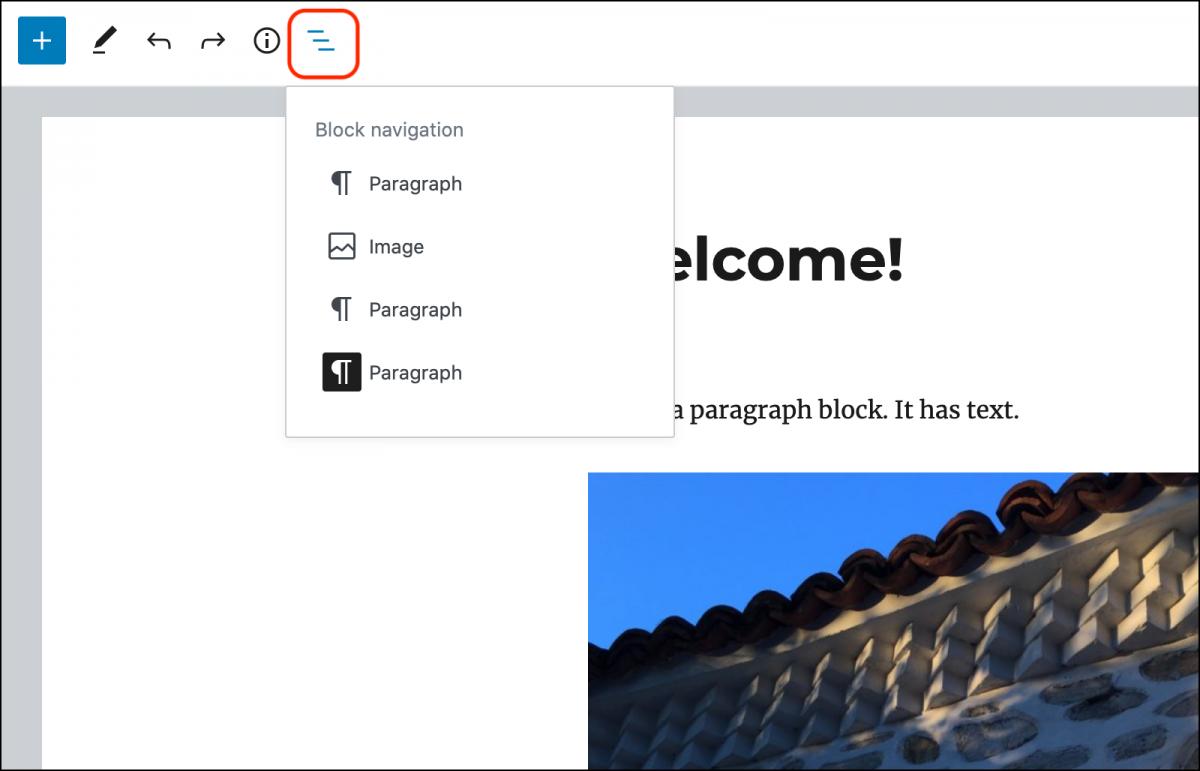 Block navigation menu.