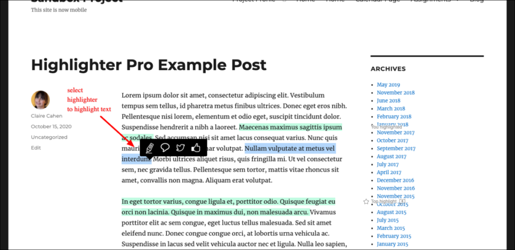 Options for highlighted text.
