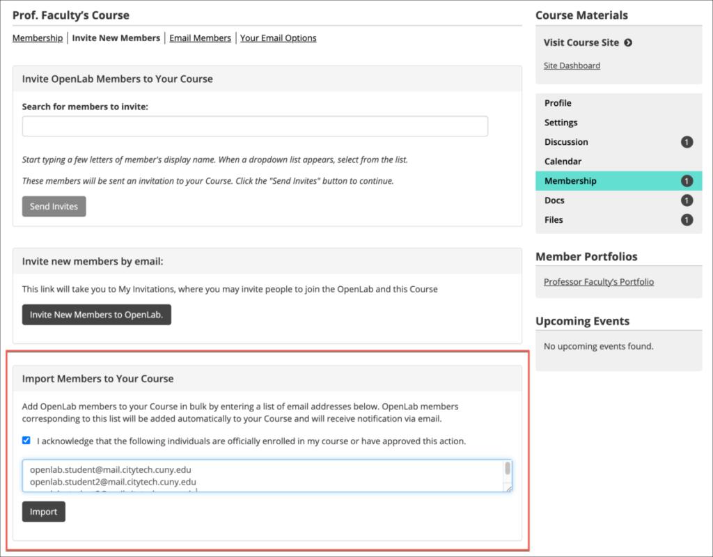 Import Members section in Invite New Members page of Membership settings.