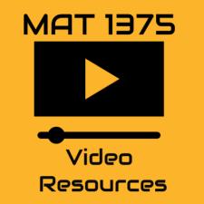 MAT 1375 Video Resources