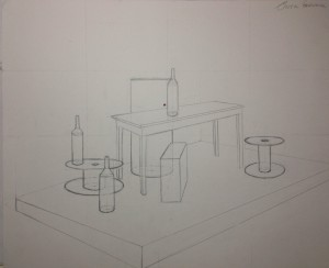 2-point perspective drawing of a complex objects (Spring/2014)