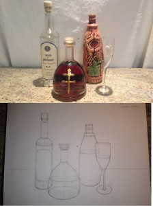 Drawing of three bottles and one glass. (Spring/2014)